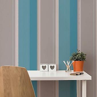 Banda papel pintado negrita Teal lujo gris plata moderno