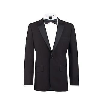 Dobell Mens schwarz 2 Stück Smoking Slim Fit Peak Revers Abend Abendessen Anzug