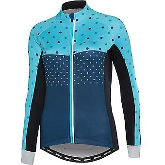 Madison Hex Dots Blue Curaco Sportive Thermal Womens Long Sleeved Cycling Jersey