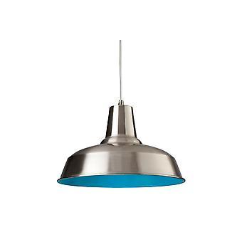 Firstlight-1 ljus tak hänge borstat stål, blå insida-8623BSBL