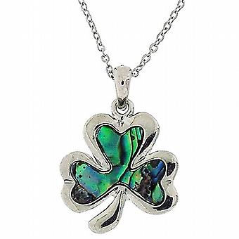 The Olivia Collection Genuine Paua Shell Shamrock Necklace 16