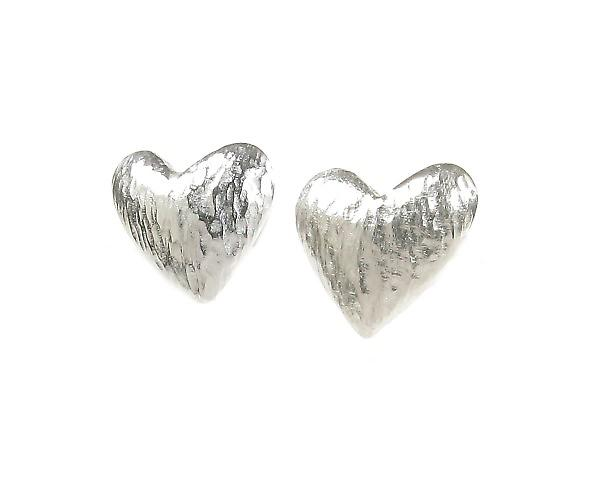 Cavendish French Brushed Sterling Silver Asymmetrical Heart Earrings