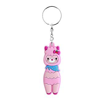 Grindstore Pink llama Rubber keychain