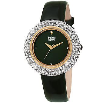 Burgi Women's Swarovski Crystal & Diamond Accented Silver & Fiery Red Leather Strap Watch BUR199GN