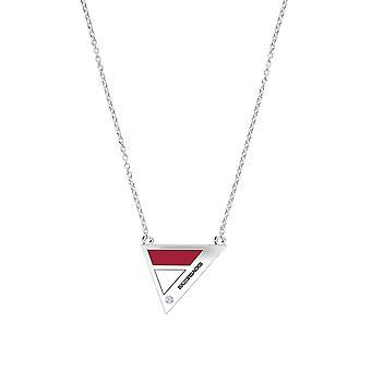 Università dell'Arkansas, Fayetteville - Razorbacks inciso diamante geometrica collana in rosso scuro e bianco