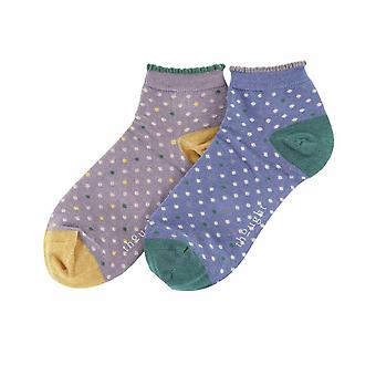 Frilly 2 pair set women's bamboo trainer socks, grey/ blue | Thought