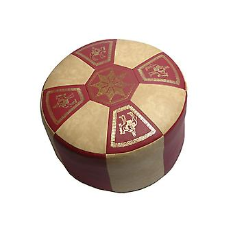 Seat cushion Pouffe Oriental pillow around leatherette bordeaux/light beige, width 50 cm, height 34 cm