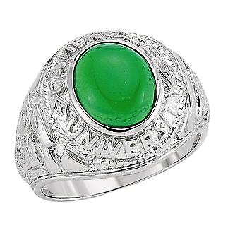 Jewelco London mænds rhodium forgyldt sterling sølv grøn oval cubic zirconia cabochon College signet ring