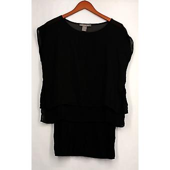 Kate & Mallory Top Short Sleeve Pop Over Length Under Layer Black A425144