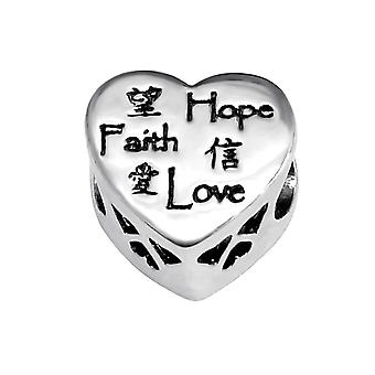 Heart Love Faith Hope - 925 Sterling Silver Jewelled Beads - W10756X