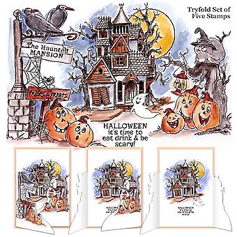 Art Impressions Try'folds s'accrochent Rubber Stamps 10 « X4.5 »-Haunted House 4688