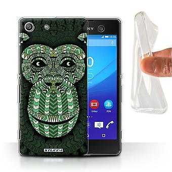 STUFF4 Gel/TPU Case/Cover for Sony Xperia M5/Monkey-Green/Aztec Animal