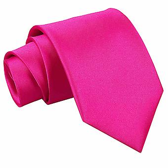 Hot Pink Plain Satin Extra Long Tie