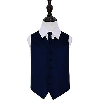 Boy's Navy Blue Plain Satin Wedding Waistcoat & Cravat Set
