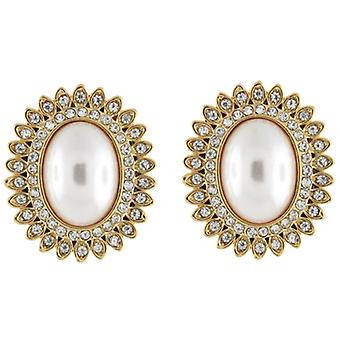 Clip On Earrings Store Gold  and  Pearl  and  Crystal Oval Starburst Flower Clip