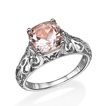 14K White Gold 2.00 CT natural peach/pink VS Morganite Ring Vintage Art Deco Vine