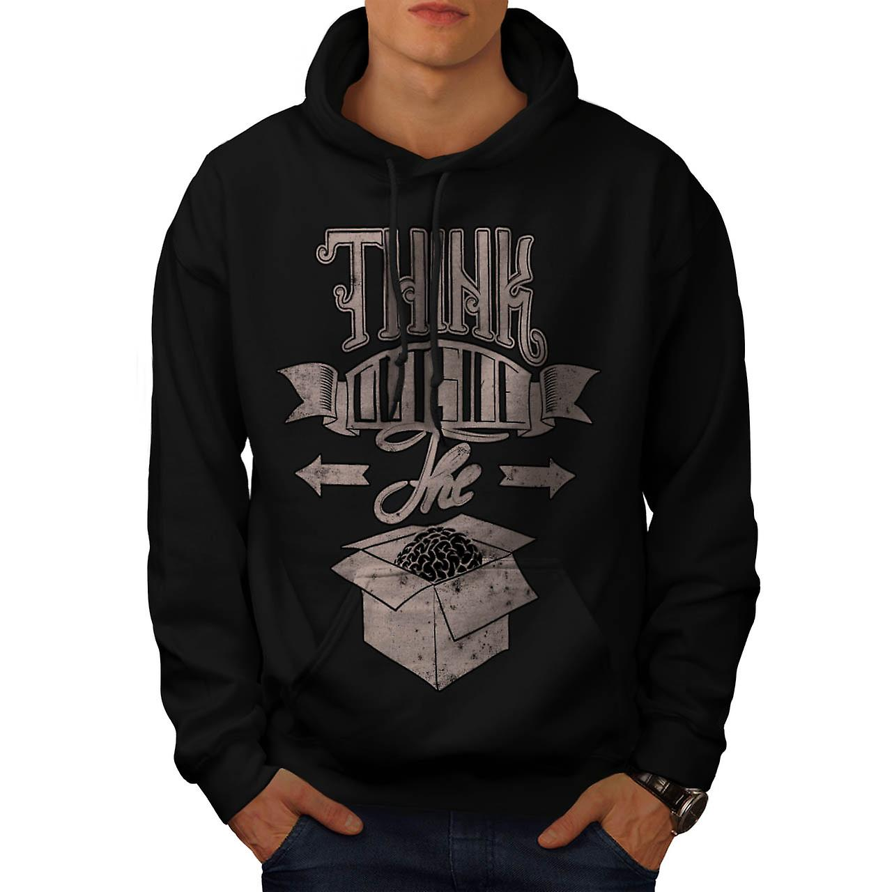 Think Outside The Box Brain Idea Men Black Hoodie | Wellcoda