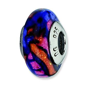 Sterling Silver Reflections Multicolor Glitter Overlay Glass Bead Charm