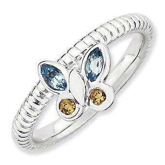 2.5mm Sterling Silver Bezel Polished Rhodium-plated Stackable Expressions Blue Topaz and Citrine Butterfly Ring - Ring S
