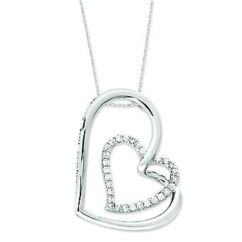 Sterling Silver Antiqued Cubic Zirconia Thank You Mother 18inch Hearts Necklace