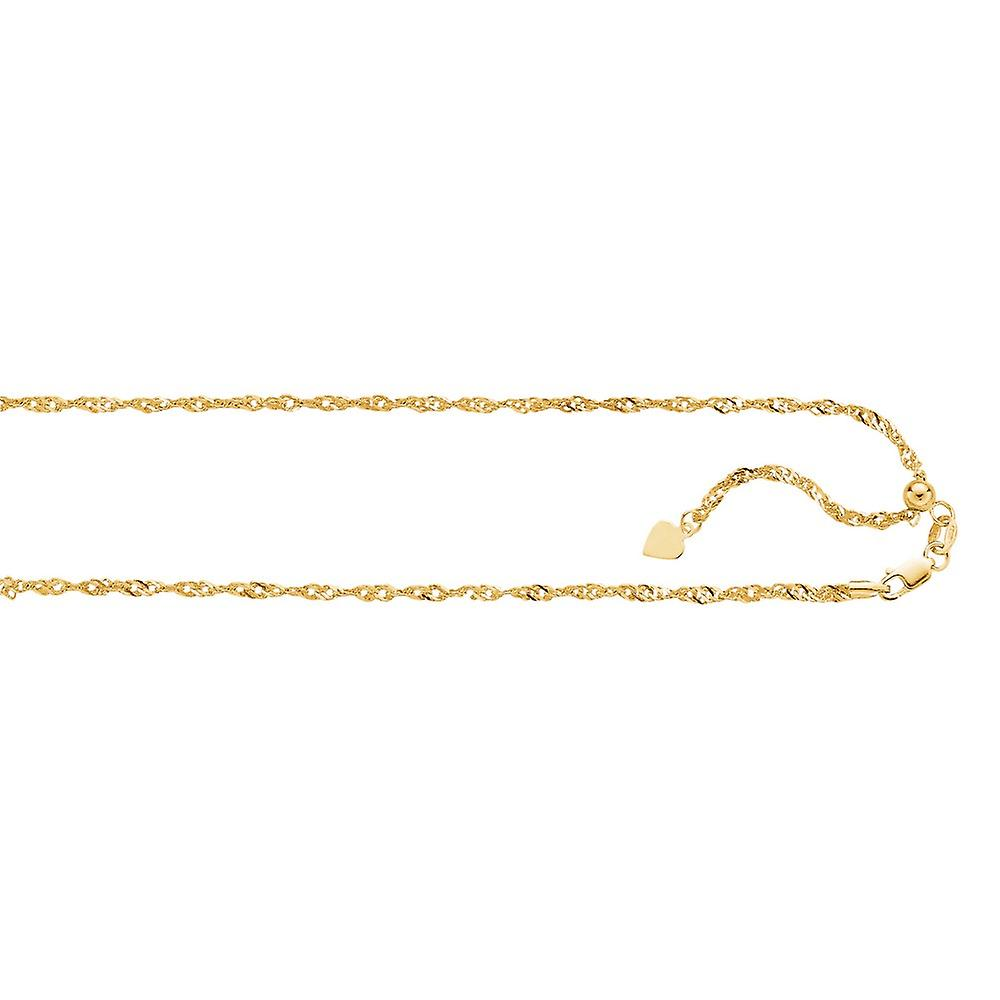 14k jaune or 1.1mm Diam-cut Adjustable Singapore Chain Small Heart Necklace - 2.2 Grams - 22 Inch