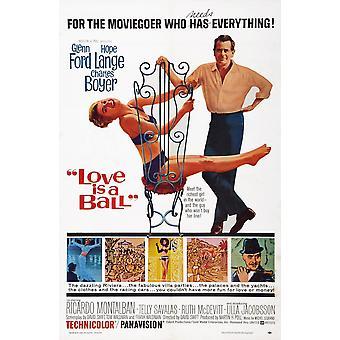 Kärlek är en boll oss affisch konst toppen från vänster Hope Lange Glenn Ford botten rätt infälld Charles Boyer 1963 film affisch Masterprint