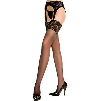 Lace Garter Belt With Stockings-Black