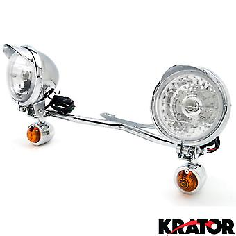 Krator Chrome Motorcycle Passing Light Bar & Turn Signals For Honda Shadow Sabre VT VF 700 750 1100