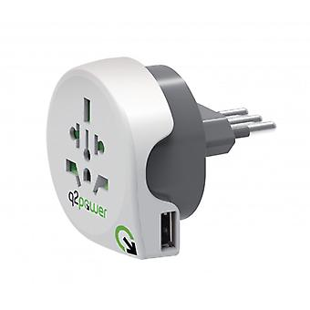 Q2 Power Travel Adapter World-to-Italy USB Grounded