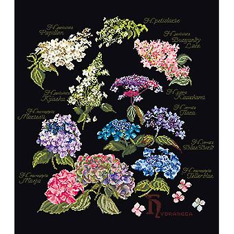 Hydrangea Panel On Aida Counted Cross Stitch Kit-14.5