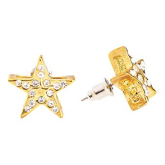 Iced out bling hip hop earrings - SUPER STAR 12 mm gold