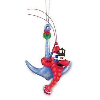 Coastal Red Lobster on Anchor Christmas Holiday Ornament