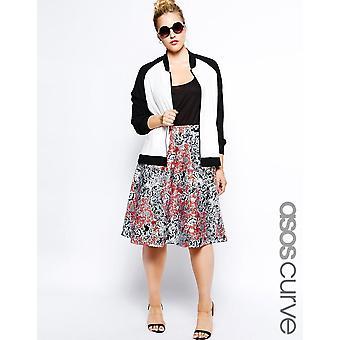 ASOS CURVE Exclusive Midi Skirt In Printed Scuba UK 26