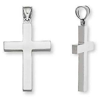 Plain 14K White Gold Women's Cross Pendant