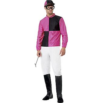 Jockey with top pants above boots helmet and goggles size M