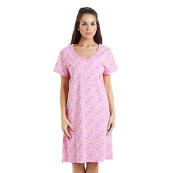 Camille Multi-Coloured Star Print Light Pink Cotton Nightdress
