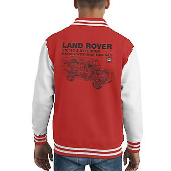 Haynes Owners Workshop Manual Land Rover Defender Black Kid's Varsity Jacket