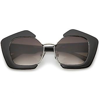 Women's Geometric Oversize Sunglasses  With Metal Bridge Flat Lens 54mm
