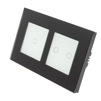 I LumoS Black Glass Double Frame 3 Gang 1 Way Remote & Dimmer Touch LED Light Switch White Insert