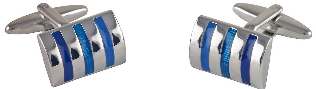 David Van Hagen Curved Rectangle Three Tone Striped Cufflinks - Silver/Blue