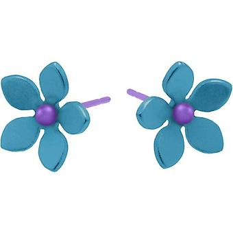 Ti2 Titanium 13mm Five Petal Stud Earrings - Kingfisher Blue
