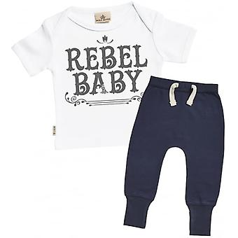Verwöhnte faulen Rebel Baby Baby T-Shirt & Navy Jogger-Outfit-Set