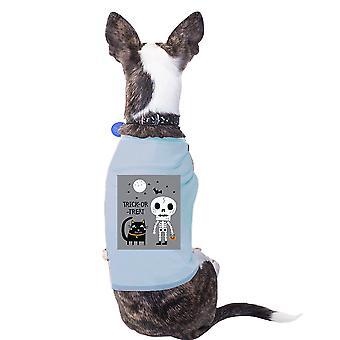 Scheletro di gatto blu camicia per Halloween carino piccolo animali camicia