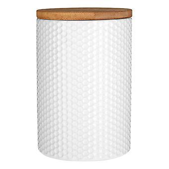 Premier Housewares busje witte Hex met bamboe deksel
