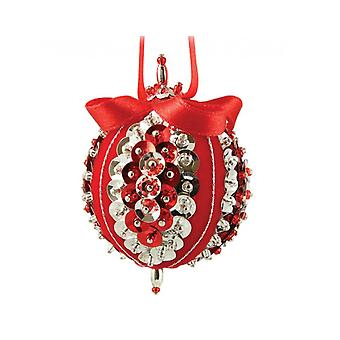Pinflair Red & Silver Sweet Noel Baubles Christmas Sequin & Pin Kit - Makes 4