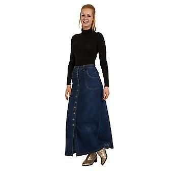 USKEES TONI Button Front Long Denim Skirt - Midwash Maxi stretch UK Sizes 10-22