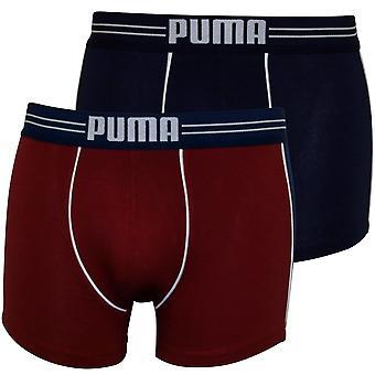 Puma 2-Pack Athletic Colour Blocking Boxer Briefs, Burgundy/Blue