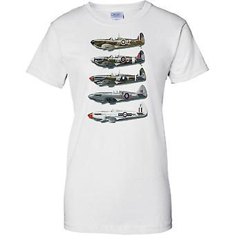 WW2 Spitfire Collage - Battle Of Britain Fighter Aircraft - Ladies T Shirt