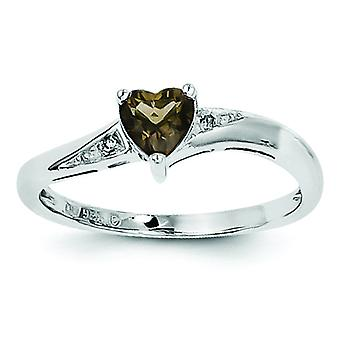 Sterling zilveren Smoky Quartz Diamond Ring - Ringmaat: 6 tot en met 9