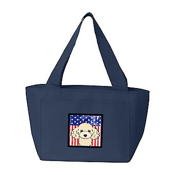 Carolines tesori BB2188NA-8808 bandiera americana e Buff barboncino Lunch Bag